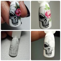 The problem is so many nail art and manicure designs that you'll find online Skull Nail Art, Skull Nails, Nail Art Diy, Diy Nails, Cute Nails, Pretty Nails, Halloween Nail Designs, Halloween Nail Art, Holloween Nails