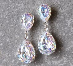 Aurora Borealis Earrings Swarovski Crystal Confetti Glitter Bubble Earrings Pear Tear Drop Rhinestone Post Dangle Duchess Pear Mashugana by MASHUGANA on Etsy https://www.etsy.com/listing/207941839/aurora-borealis-earrings-swarovski