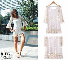 Mini dress white dress boho style