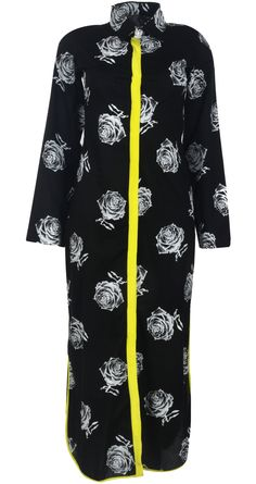 Rose print shirt dress by MASABA available only at http://www.perniaspopupshop.com/whats-new/masaba-rose-print-shirt-dress-mao071301.html