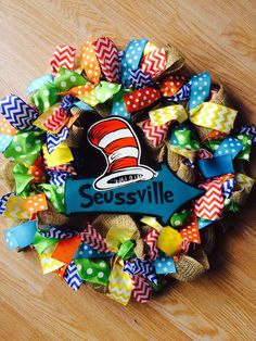 Dr. Seuss inspired wreath! by LuLusWreathBoutique on Etsy
