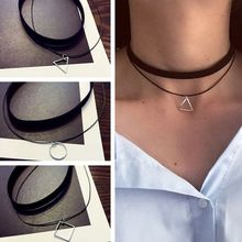 Multilayer Chokers Necklaces For Women Triangle Circle Geometric Pendant Necklace Collares Fashion Jewelry Bijoux Colar Price: USD Choker Necklace Outfit, Necklace Box, Necklace Types, Pendant Necklace, Fashion Jewelry Necklaces, Fashion Necklace, Imitation Jewelry, Leather Chain, Stamped Jewelry