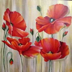 Rojo intenso Tulip Painting, Acrylic Painting Flowers, Acrylic Painting Techniques, Abstract Flowers, Painting Tips, Acrylic Painting Inspiration, Watercolor Poppies, Diy Artwork, Arte Floral