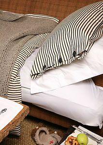 Organic Ticking Cotton Duvet Cover Set - bed linen