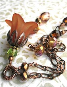 Perfect Fall jewelry... romantic, vintage style flower necklace in beautiful, rich Autumn shades of muted pumpkin spice, burnt sienna, amber, and copper.