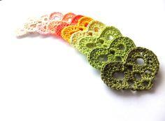 crocheted small granny hearts
