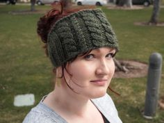 Deep Forest Green Knitted Ear Warmer Headband by KnittingWriter, $25.00