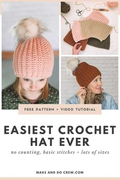 This free crochet hat pattern for beginners from Make Easy Crochet Hat, Crochet Baby Hat Patterns, Crochet Cross, Basic Crochet Stitches, Crochet Baby Hats, Crochet Beanie, Learn To Crochet, Free Crochet, Make And Do Crew