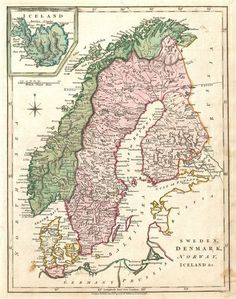 Wilkinson map of Norway, Sweden, Finland and Denmark (1794).