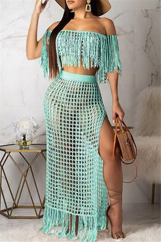 Winter Christmas Fashion 2020 New Style Women's Clothing Clothes Casual Party Two Piece Sets Casual Outfits, Cute Outfits, Fashion Outfits, Womens Fashion, Fashion Beauty, Mode Crochet, Crochet Top, Crochet Bikini Pattern, Moda Instagram