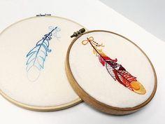 Tutoriale DIY: Cómo bordar un bastidor con plumas vía DaWanda.com