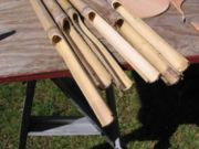 Ends of bamboo split to create sound chambers