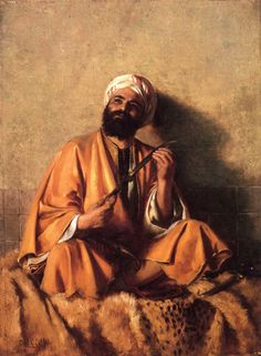 The Athenaeum - Arab Figure with Simitar Charles Courtney Curran - 1885 Private collection Painting - oil on board Height: 30.48 cm (12 in.), Width: 47.63 cm (18.75 in.)