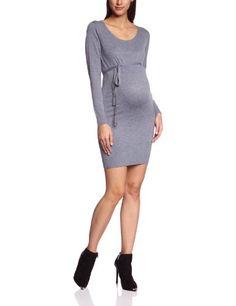 Mamalicious - Vestido premamá de punto de manga larga para mujer, talla 40, color gris melange (medium grey melange)