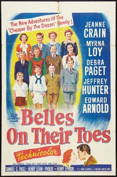 Belles on Their Toes sequel to Cheaper by the Dozen starring Jeanne Crain, Myrna Loy, Debra Paget, and Jeffrey Hunter Two Movies, I Movie, Family Movies, Watch Movies, Movie Stars, Jeffrey Hunter, Hoagy Carmichael, Cheaper By The Dozen, Jeanne Crain