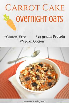 Protein-Packed Carrot Cake Overnight Oats with 24g protein. It's gluten free with an easy vegan option too! @LaurenPincusRD