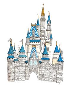 Disney Castle Watercolor Painting - On the Mark Designs Walt Disney, Cute Disney, Disney Art, The Aristocats, Castle Drawing, Castle Painting, The Jungle Book, Briar Rose, Disney Cinderella Castle