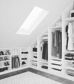 walkincloset closet atticspace quotMein Loft on Haus oben Attic Bedroom Closets, Attic Closet, Bedroom Wardrobe, Closet Bedroom, Diy Bedroom, Wardrobe Closet, Design Bedroom, Wardrobe Doors, Attic House