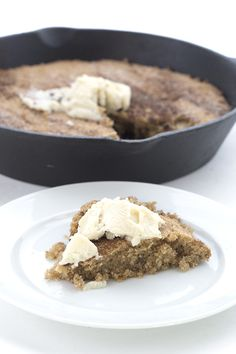 Warm cinnamon-y low carb Snickerdoodle dough baked in a skillet and topped with sugar-free ice cream!
