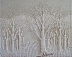 Reminiscent of a forest in winter - this piece is the work of textile artist Gloria McRoberts.  You can see more of Gloria's work on her website at http://gloriamcroberts.com/index.php