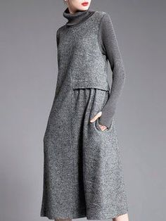 Long Sleeve Casual Shift Gathered Turtle Neck Midi Dress
