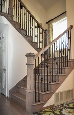 #Staircase #Traditional by #StateOfTheArtInstallationInc | #Hardwood #Flooring #RedOak #ClassicGreyStain #SwedishFinish