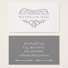 Wedding Planner Love Heart Knot Business Cards