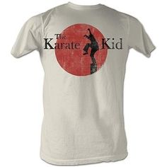 """Karate Kid """"Silhouette Logo"""" T-Shirt - X-Large by Pro Force. $17.95. The '80s classic! This 100% pre-shrunk ringspun cotton white """"Karate Kid"""" t-shirt features Daniel LaRusso practicing his crane kicks on the beach at sunset. The print is distressed for vintage appeal. It's sleek, modern tribute to an '80s classic. Handling Fee Notification  This products shipping cost now includes a $10 per order handling fee to cover added handling costs from our supplier, and is included..."""