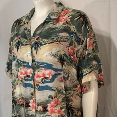Vintage Plus Size 3X Bonjour Womens Hawaiian Hawaii Tiki Shirt Palm Trees and Flowers Short Sleeve Green Yellow Pink Blue80s Eighties by CarolinaThriftChick on Etsy