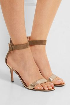 GIANVITO ROSSI: Heel measures approximately 85mm/ 3.5 inches Olive suede, gold leather Buckle-fastening ankle strap Made in Italy