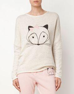Sweatshirt mit Tieren als Motiv - Ohren und Schleife aus Samt