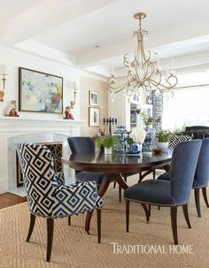 90 Wonderful Elegant Dining Room Design and Decorations Ideas - DecOMG Dining Room Blue, Elegant Dining Room, Dining Room Design, Formal Dining Rooms, Classic Dining Room, Blue Dining Room Furniture, Dinning Room Table Decor, Fabric Dining Room Chairs, Classic Chairs