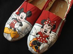 Custom Hand Painted Shoes - Minnie and Mickey Mouse