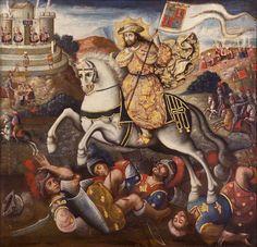 Anónimo cuzqueño Santiago Matamoros con escena de la captura del inca en Cajamarca. 1720-1770 Óleo sobre tela Colección Llosa Larrabure, Lima