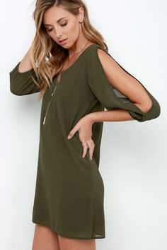 When it's time to shift your gears into glamour mode, the Shifting Dears Olive Green Long Sleeve Dress is our most dearly beloved dress! Shift dress with cold shoulder cutout sleeves. Cute Party Outfits, Party Outfits For Women, Summer Fashion Outfits, Cute Fashion, Pretty Outfits, Flattering Dresses, Trendy Dresses, Green Dress Outfit, Green Long Sleeve Dress