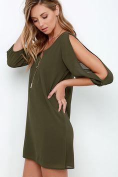 Olive Green Cold Shoulder Dress - www.shopcsgems.com   Buy able ...