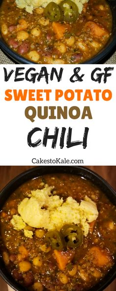 Vegan and Gluten Free Sweet potato and quinoa chili.  #healthy #recipe #food #chili