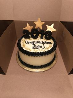This black and gold themed cake was for a graduation celebration. Its a double layer 8 chocolate cake with buttercream fros Graduation Party Desserts, Graduation Cupcakes, Graduation Celebration, Graduation Party Decor, Graduation Ideas, Congratulations Cake, Black And Gold Cake, First Communion Cakes, 60th Birthday Cakes