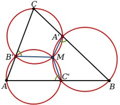 Miquel's theorem: A diagram showing circles passing through the vertices of a triangle ABC and points A´, B´ and C´ on the adjacent sides of the triangle inte. Circle Theorems, Maths, Circles, Geometry, Fun Facts, Diagram, Science, Trigonometry, Sacred Geometry