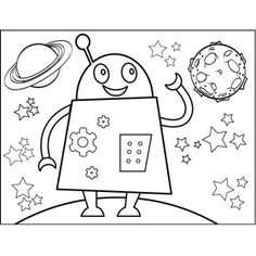 A happy robot covered in gears and cogs smiles and waves in this printable space coloring page for young artists. Space Coloring Pages, Coloring Pages To Print, Printable Coloring Pages, Coloring Pages For Kids, Coloring Sheets, Coloring Books, Robot Theme, Smile And Wave, Astronauts In Space