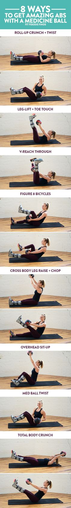 8 Ways to Get Amazing Abs with a Medicine ball. Plus- a mini circuit that you can do to finish off a workout!Here's 8 Ways to Get Amazing Abs with a Medicine ball. Plus- a mini circuit that you can do to finish off a workout! Lower Ab Workouts, Easy Workouts, At Home Workouts, Ab Exercises, Fitness Workouts, Ab Moves, Stability Exercises, Fitness Weightloss, Fitness Motivation
