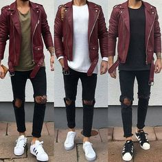 Royal Fashionsit is the best Men's Fashion Guide. Here you will find the latest trends on men's style. Get inspired with these outfits and leave your comment below. High Street Fashion, Rugged Style, Stylish Men, Men Casual, Style Brut, Men's Style, Mode Man, Leather Jacket Outfits, Men With Street Style