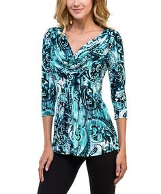 Look at this Black & Mint Paisley Drape-Neck Three-Quarter Sleeve Top on #zulily today!