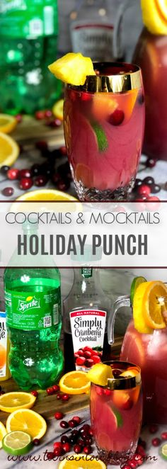 My two delicious mocktail and cocktail recipes: Holiday Punch and Holiday Rum Punch not only have a vibrant red color, but includes fresh fruit. The vibrant red combined with the red from fresh cranbe Rum Punch Recipes, Rum Recipes, Alcohol Recipes, Cocktail Recipes, Cocktail Ideas, Drinks Alcohol, Alcohol Punch, Cocktail Drinks, Fall Recipes