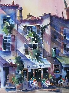 "Salon de The-St.Paul de Vence by Jinnie May Watercolor ~ 30"" x 22"""