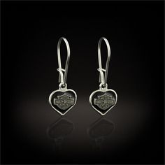Let her express her enthusiasm with these delicate sterling silver heart earrings enriched with black enamel to feature the Bar and Shield™. Harley Davidson Jewelry, Harley Davidson Motorcycles, Custom Motorcycles, Harley Gear, Harley Bikes, Harley Apparel, Harley Davidson Pictures, Lady Biker, Biker Chick