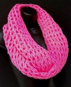 Infinity Crochet Scarf Pink Girls Infinity Fantasy by Africancrab, $22.00
