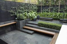 102 Marvelous Modern Front Yard Privacy Fences Ideas - Page 24 of 104 Modern Garden Design, Contemporary Garden, Patio Design, Modern Courtyard, Contemporary Style, Modern Landscaping, Backyard Landscaping, Landscaping Ideas, Outdoor Rooms