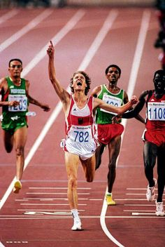 The mighty Dieter Baumann, winning the 5000m in the Barcelona '92 Olympics, with his superior finishing speed.