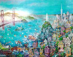 City by the Bay by Bill Bell ~ San Francisco folk art